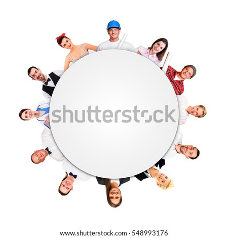 Group of people in circle.