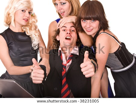 Group of people in  costume with thumb up. Isolated. - stock photo