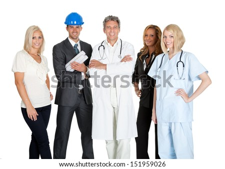 Group of people in different occupations and professions over white background - stock photo