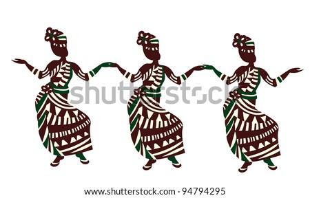 group of people in ethnic style dancing on a white background - stock photo