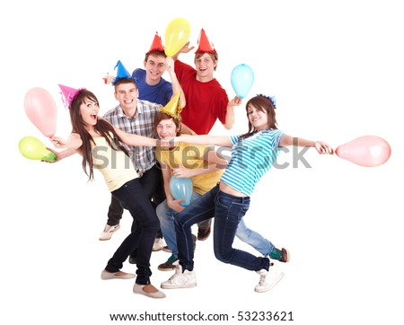 Group of people in party hat and balloons. Isolated. - stock photo