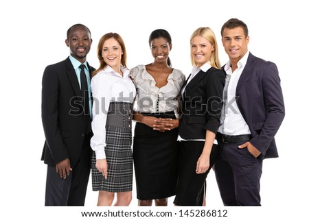 Group of people in suits looking at camera on white background - stock photo