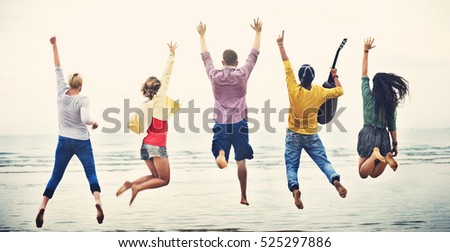Group Of People Jumping Concept