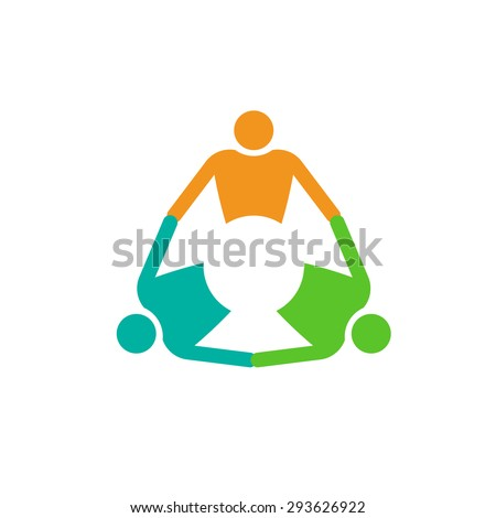 Group of 3 people logo holding hands in circle