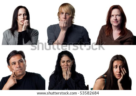 Group of people making a hard decision - stock photo