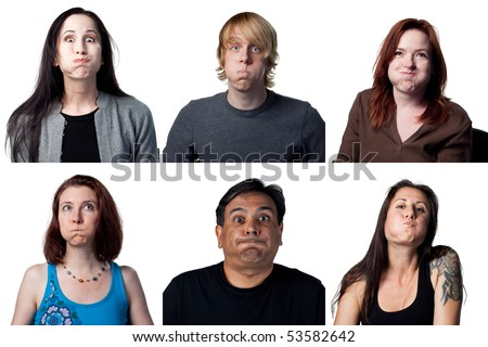 Group of people making funny faces for the camera - stock photo