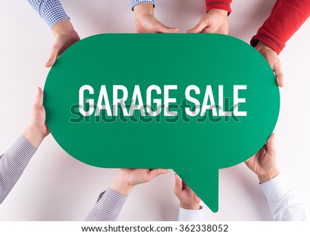 Group of People Message Talking Communication GARAGE SALE Concept - stock photo