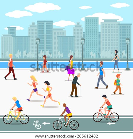 Group of people on promenade on city river street. Flat illustration. Bicycle and summer leisure, lifestyle active, activity human walking - stock photo