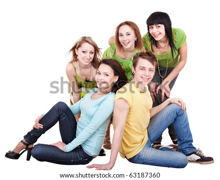 Group of people on white.Teenager girl and teenager boy.