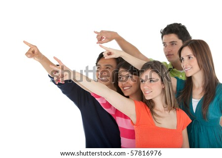Group of people pointing away - isolated over a white background - stock photo
