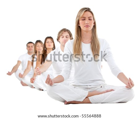 Group of people practicing yoga in white clothes ? isolated - stock photo
