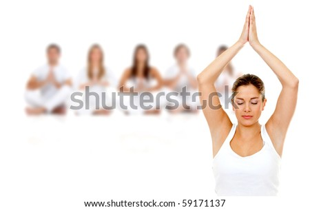 Group of people practicing yoga isolated over a white background - stock photo