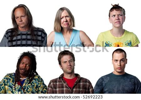 Group of people reacting to bad news - stock photo