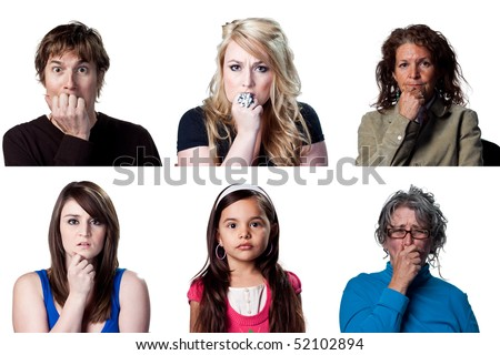 Group of people reacting to some bad news - stock photo