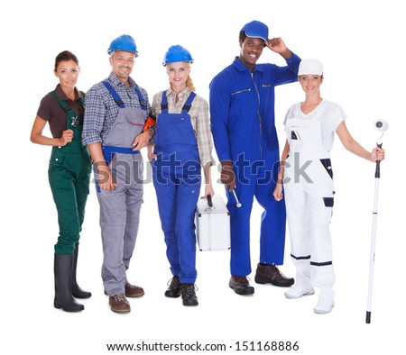 Group Of People Representing Diverse Professions On White Background - stock photo
