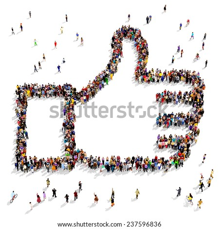 "Group of people seen from above gathered together in the shape of a ""thumbs up"" symbol standing on a white background - stock photo"