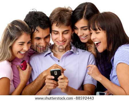 Group of people social networking on a cell phone - isolated over white