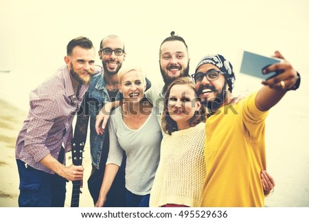 Group Of People Taking Pictures Concept