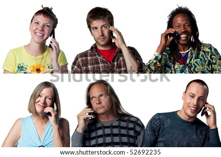 Group of people talking on the telephone