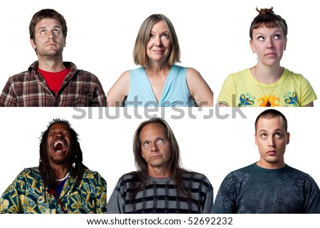 group of people thinking about something important - stock photo