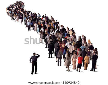 group of people waiting in line, video 3550160 - stock photo