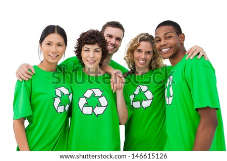 Group of people wearing green shirt with recycling symbol on it on white background - stock photo