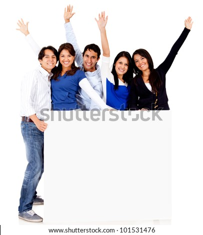 Group of people with a banner - isolated over a white background - stock photo