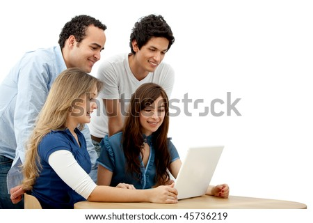 Group of people with a laptop isolated over a white background