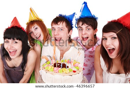 Group of people with cake celebrate happy birthday. Isolated.
