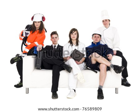 Group of people with different occupation sitting in a sofa isolated on white background - stock photo