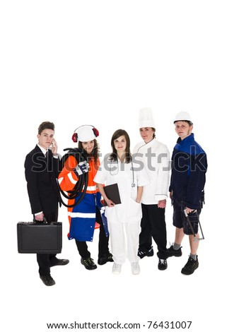Group of people with different occupations isolated on white background - stock photo