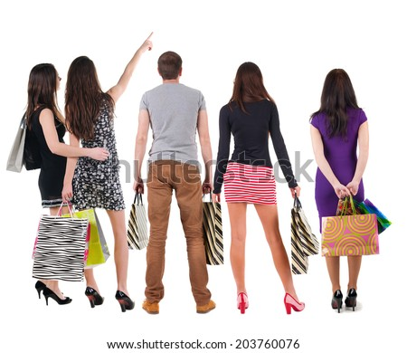 group of people with shopping bag. rear view. Isolated over white. - stock photo