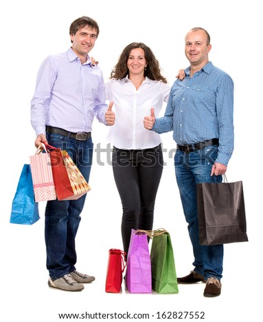 Group of people with shopping bags on a white background - stock photo