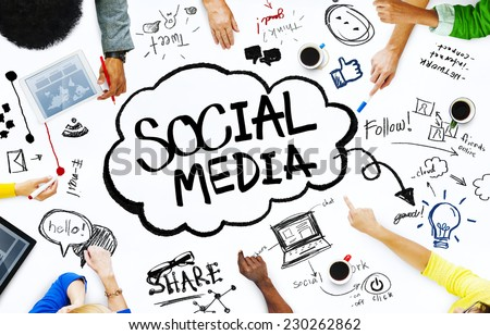 Group of People with Social Media Concept - stock photo