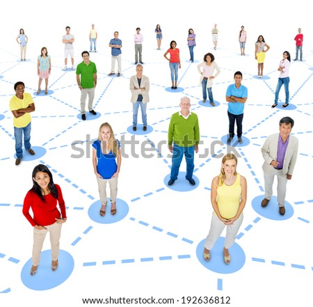 Group of People with Social Networking - stock photo
