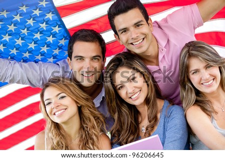 Group of people with the USA flag - American youth concepts - stock photo