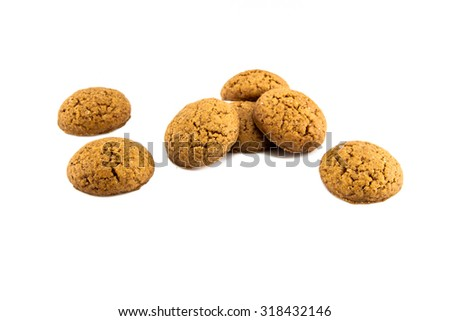 Group of Pepernoten, typical Dutch treat for Sinterklaas on december 5th, on White Background - stock photo