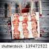 Group of pictures showing woman gesturing hung with pegs with blood stains on the background - stock photo