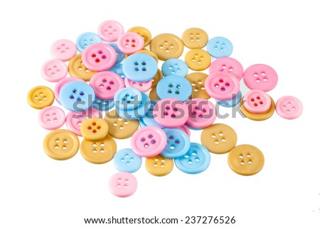 Group of pink, blue and yellow  Buttons