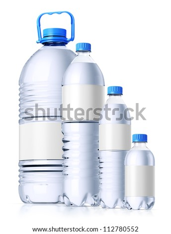 Group of plastic bottles (5l, 1.5l, 0.6l and 0.33l)  full of water with clean white labels for design presentation. Isolated on white. - stock photo