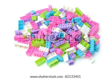 group of plastic brick toy on white background. - stock photo