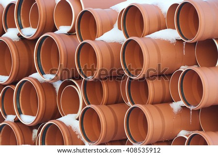 Group of plastic pipes for drains water for building - stock photo