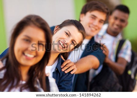 group of playful high school students close up - stock photo