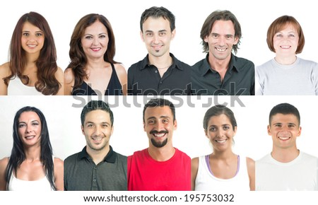 Group of  pleased and happy people  smiling with joy head and shoulders shot - stock photo