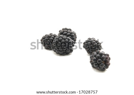 Group of plump, juicy blackberries ready to eat, isolated on white - stock photo
