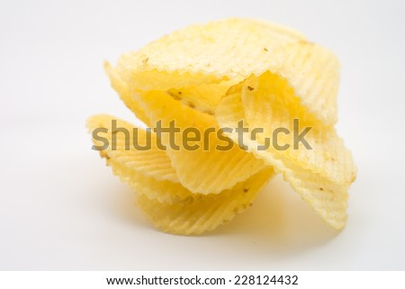 Group of potato chips in bag on white background