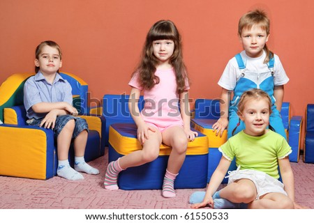 Group of preschool kids - stock photo