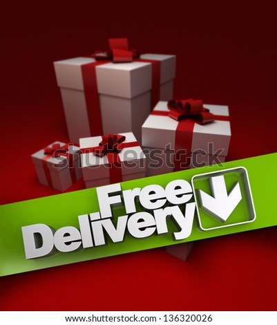Group of presents with a banner stating free delivery - stock photo