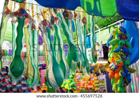 Group of prizes for games at the county fair - stock photo