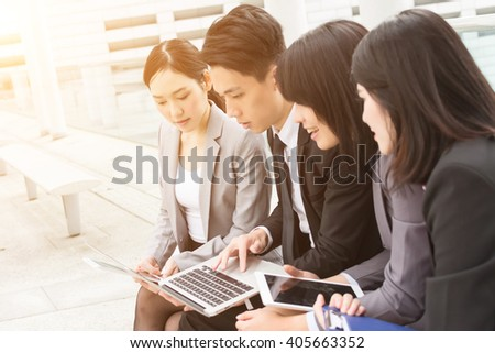 Group of professional business team discuss together - stock photo